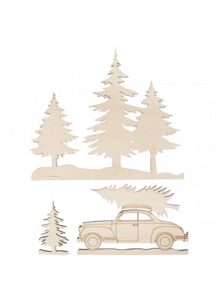 Houten motieven bomen en auto