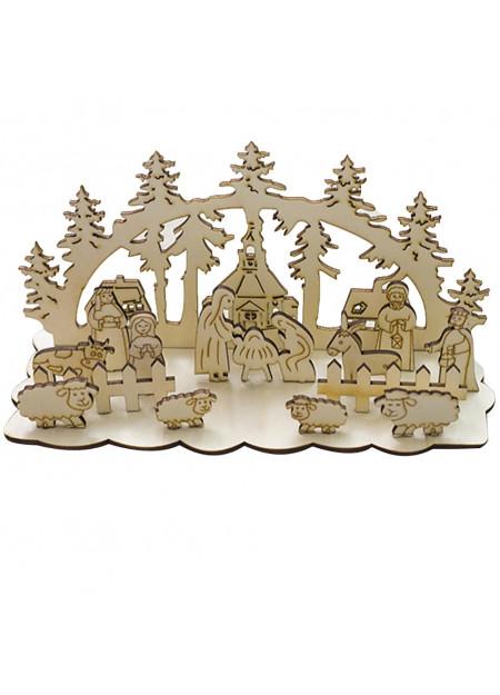 Houten bouwset Kerstdecor met kerk