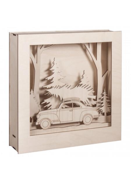 Houten bouwset auto en bomen in 3d lijst